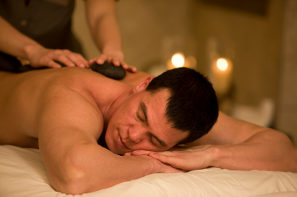 man with stones is spa